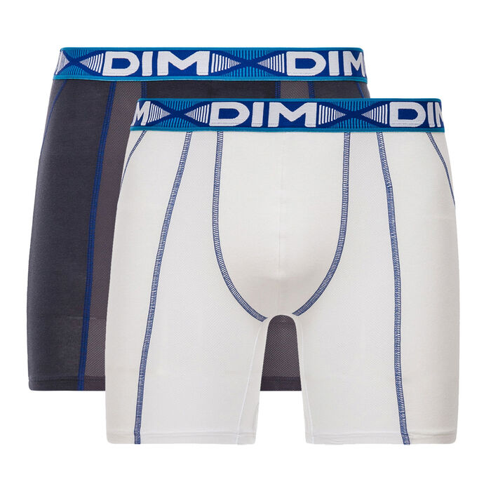 Pack of 2 pairs of 3D Flex Air long trunks in white and lead grey, , DIM