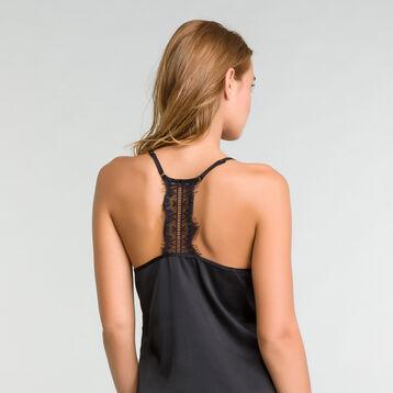 Satin nightie with black lace - Glamour, , DIM