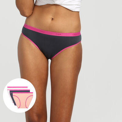 EcoDim Les Pockets pack of 3 stretch cotton briefs pink/grey/pearl, , DIM
