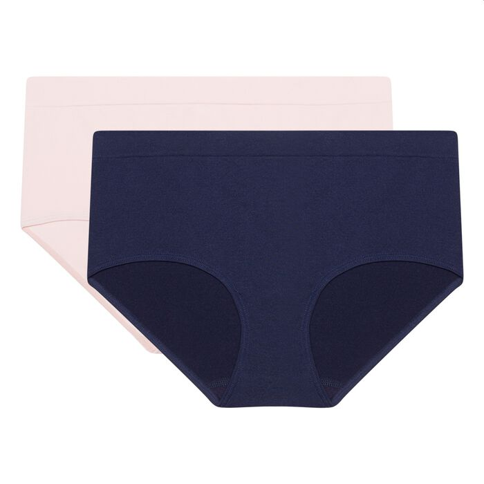 EcoDim Les Pockets pack of 2 seamless microfibre shorties blue/pink, , DIM