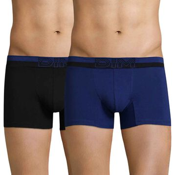 Set of 2 Soft Touch Pop indigo blue and black boxers - DIM