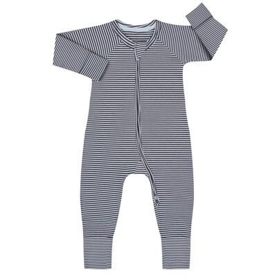 Cotton Stretch Zipped Pyjama with white and dark grey stripes Dim Baby, , DIM