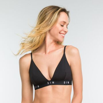 Black non-wired triangle bra - DIM Originals, , DIM