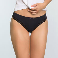 Women's microfiber tanga in Black Micro Lace Panty Box, , DIM