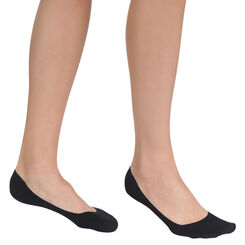Pack of 2 pairs of black cotton footies for women, , DIM