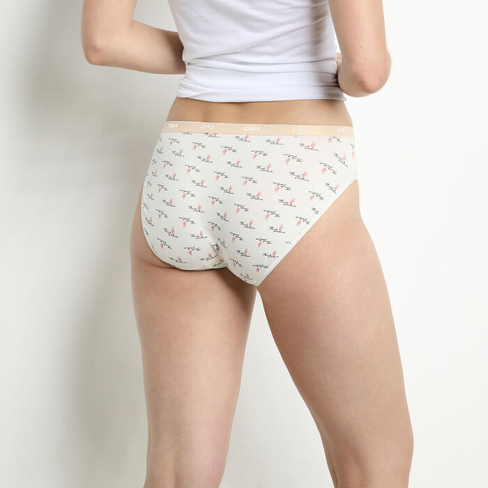 Les Pockets Pack of 3 stretch cotton briefs with feminine messages, , DIM