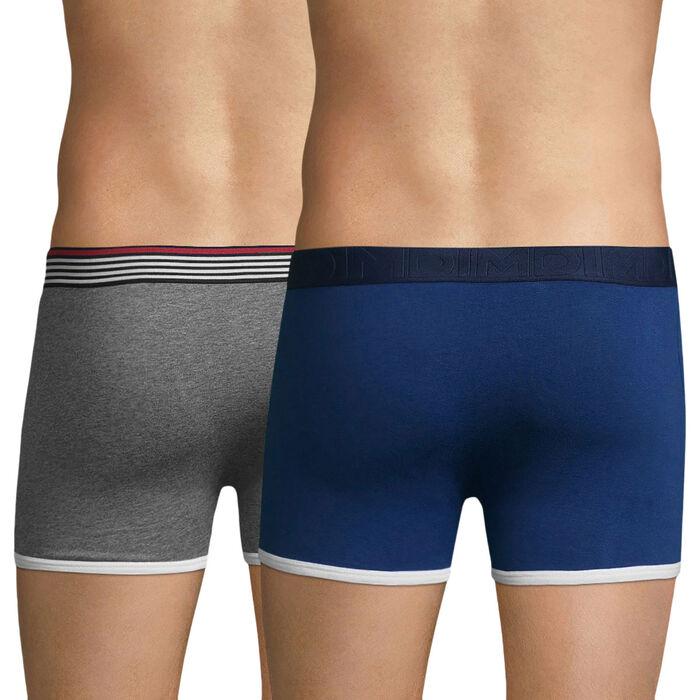 Lot de 2 boxers bleu outremer et gris chiné DIM Cup-DIM