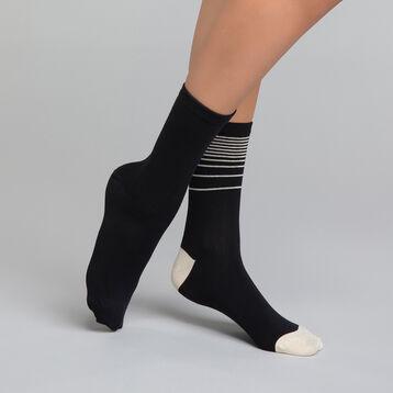 Lot de 2 mi-chaussettes noires lurex doré - Dim Coton Style, , DIM