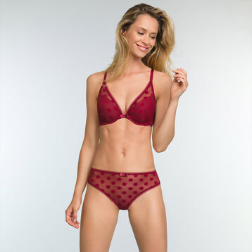 Soutien-gorge foulard Push Up Rouge Cherry pour femme Dotty Line, , DIM