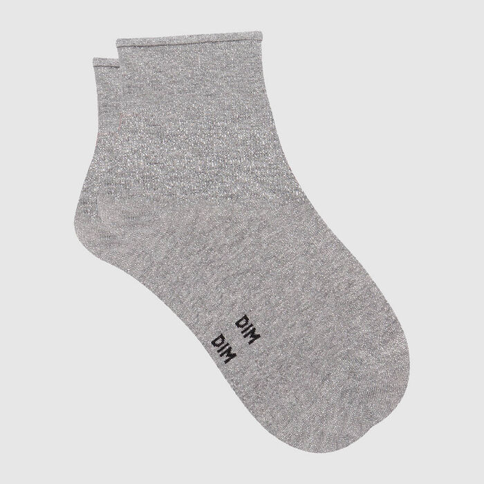 Cotton Style women's brushed cotton and lurex ankle socks Light Heather Grey, , DIM