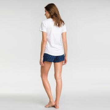 Navy blue pyjama shorts with white polka dots  - Fashion, , DIM