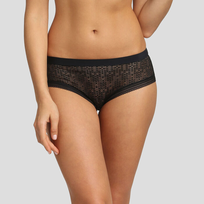 Dim Mod black microfiber and lace shorty, , DIM