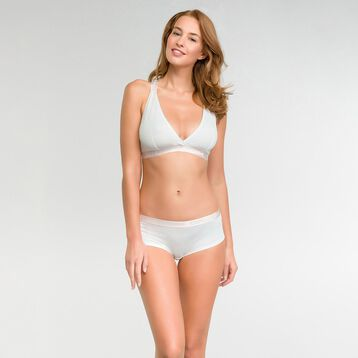 Pearly white triangle bra in cotton - Les Pockets  , , DIM