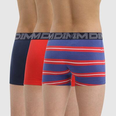 Pack of 3 Dim Rhythmics Red Blue Stripe Stretch Cotton Boy Boxers, , DIM