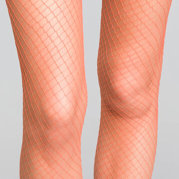Fishnet fire-orange colour 70 tights - Dim Style, , DIM