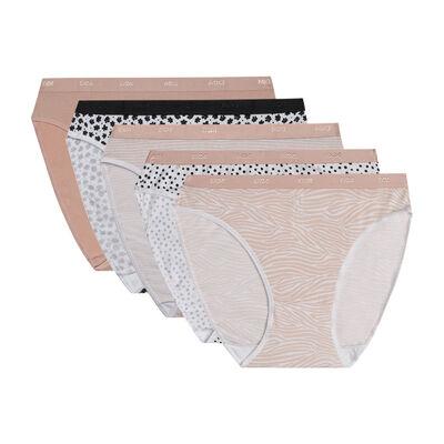 Комплект из 5 женских трусиков-слипов из мягкого хлопка стрейч с романтическими узорами Les Pockets, , DIM
