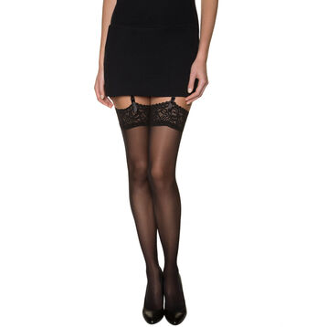 Black DIM Signature lace top stockings, , DIM