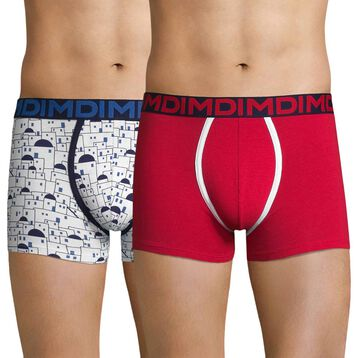 2-pack blue patterns and red trunks - Dim Mix & Fancy, , DIM