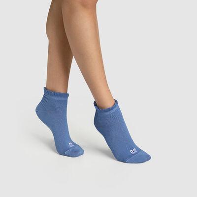 Синие женские носки с принтом шотландская полоска и оборкой Dim. Сделано во Франции, , DIM
