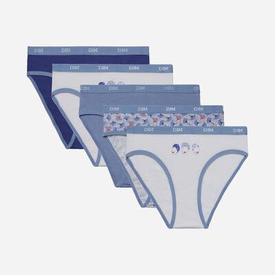 Комплект из 5 трусиков для девушек из эластичного хлопка с восковым принтом Bleu Les Pockets, , DIM