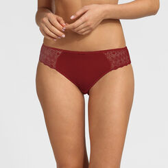 Dim Daily Glam red graphic lace and dotted swiss mesh briefs , , DIM