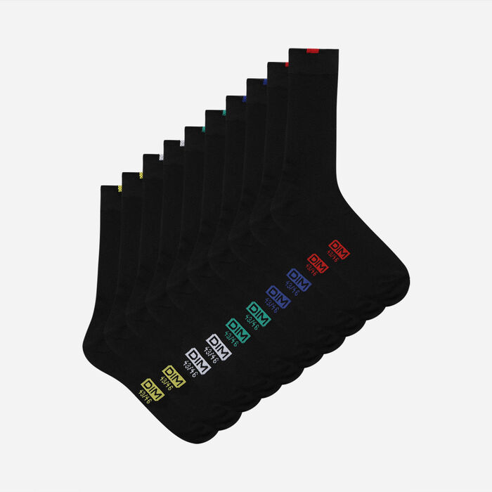 Pack of 5 pairs of black EcoDIM socks for men, , DIM