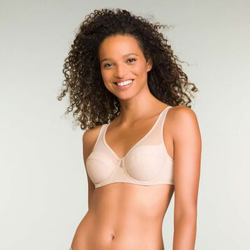 Generous underwired bra in barely beige, , DIM