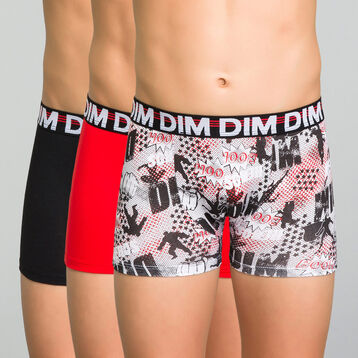 3 pack black, red and printed trunks for Boy - Trio DIM, , DIM