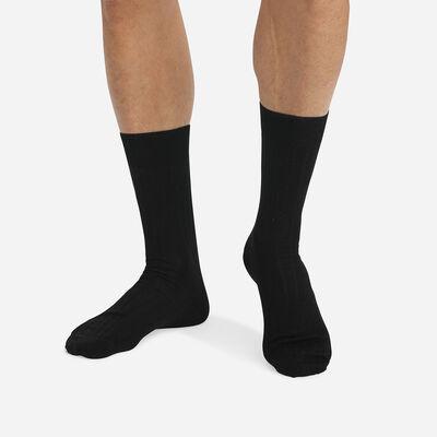 Pack of 2 pairs of black lisle socks for men, , DIM
