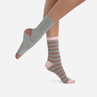 Pack of 2 pairs of women's striped socks Bois de Rose Cotton Style, , DIM