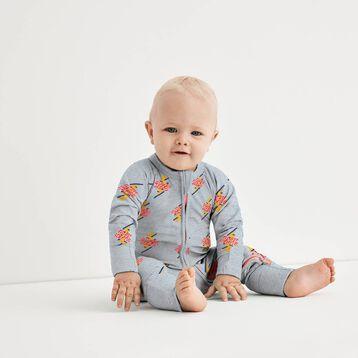 Super Hero Print  Zipped Pyjama in Cotton Stretch Dim Baby, , DIM