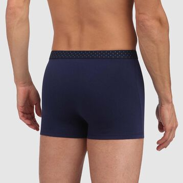 Mix and Fancy stretch cotton trunks in denim blue with diamond print waistband, , DIM