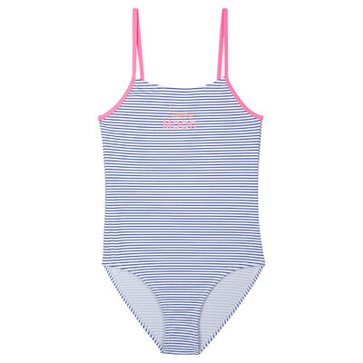 Blue and white navy striped one-piece swimsuit Dim Girl, , DIM