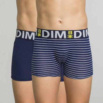 Lot de 2 boxers bleu marine et rayé ceinture imprimé - Box Japon, , DIM