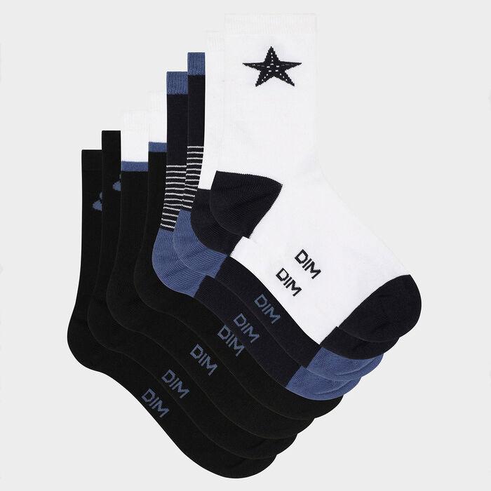 Lot de 4 paires de chaussettes femme coton fantaisie Bleu Blanc Dim, , DIM