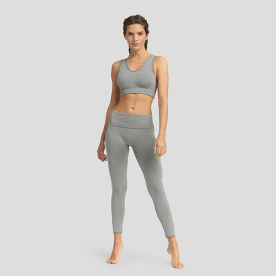 Dim Sport Moderate Impact seamless padded bra in pebble grey, , DIM