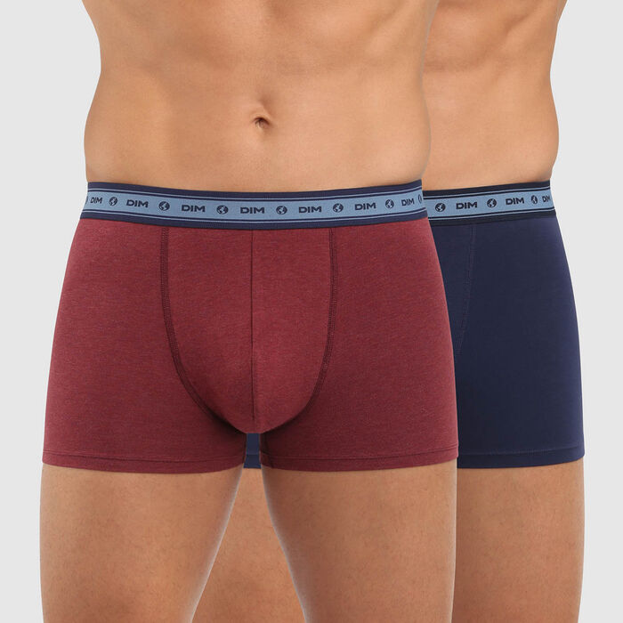 Green by Dim pack of 2 men's organic stretch cotton trunks in wine red and denim blue, , DIM