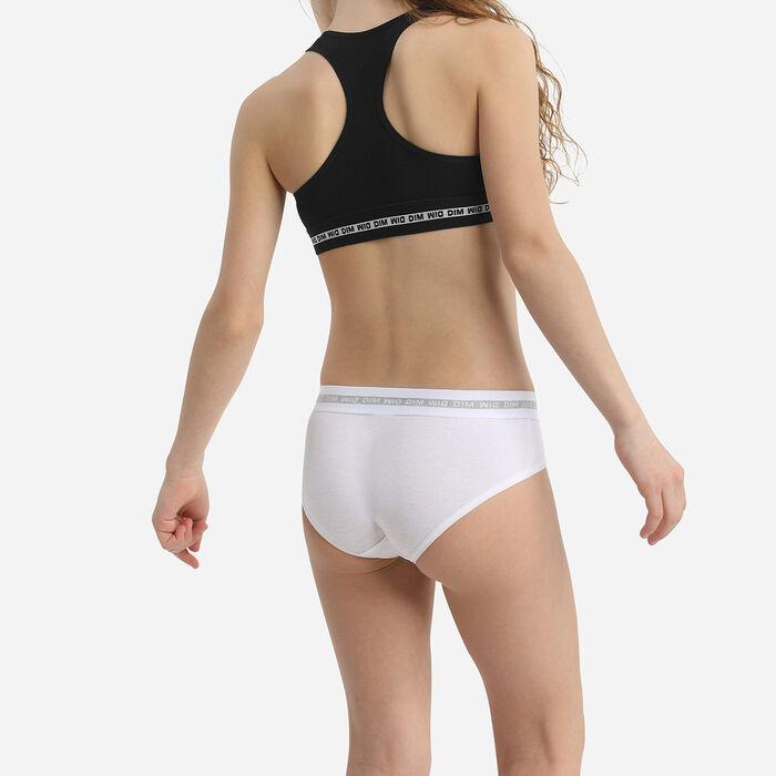 Dim Sport Pack of 2 Girls' Stretch Cotton Bras White Black Silver, , DIM
