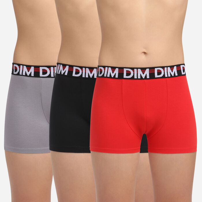 3 pack poppy red stretch cotton trunks Dim Promo Eco, , DIM