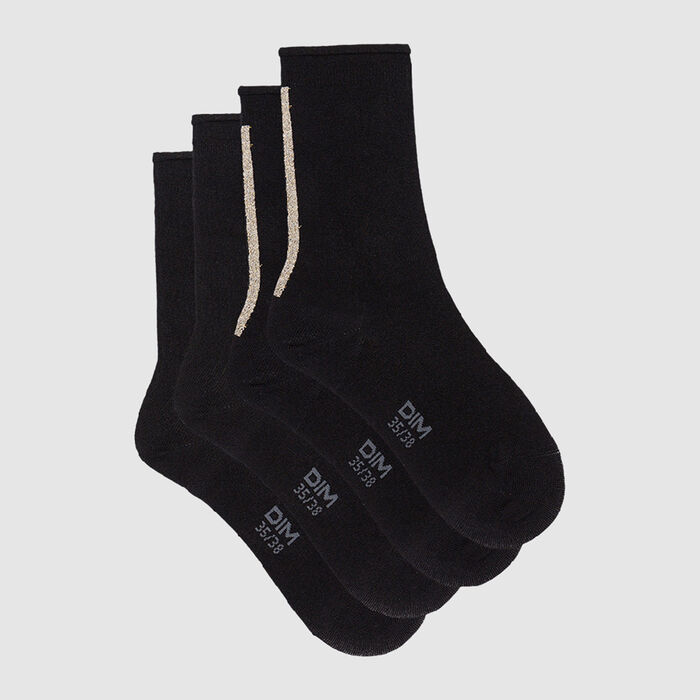 Dim Modal pack of 2 pairs of crew socks in black modal and gold lurex, , DIM