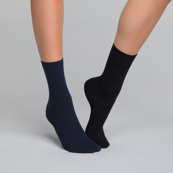 2 pack black and blue women's socks - Dim Basic Coton, , DIM