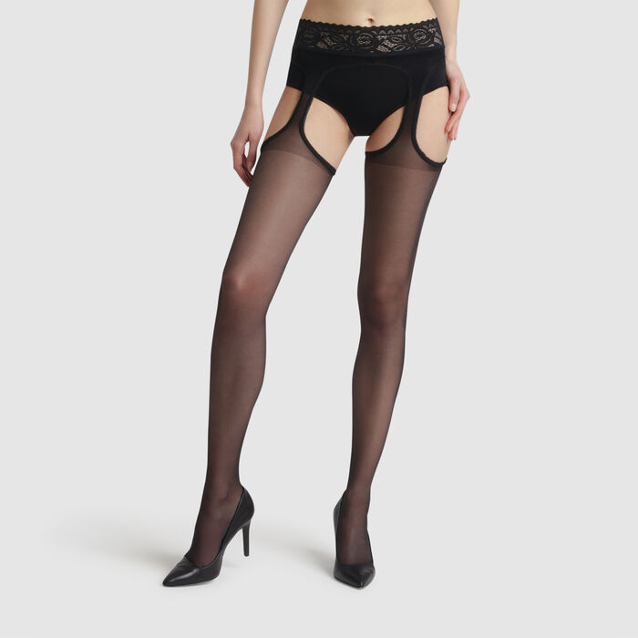 Black Infiniment Jarretelles 20 suspender effect tights, , DIM