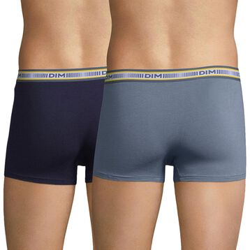 Lot de 2 boxers bleu cobalt et gris souris 3D Flex Classique-DIM