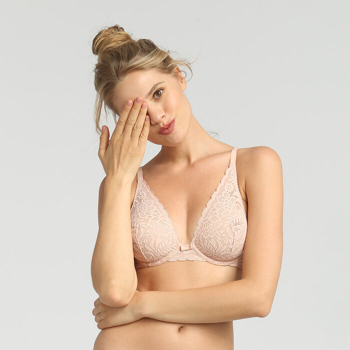 Dim Sublim Dentelle nude pink wireless triangle bra, , DIM
