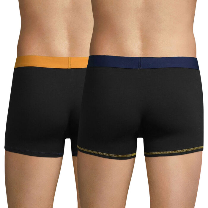 Pack of 2 pairs of black Mix and Colors trunks with yellow and blue waistbands, , DIM