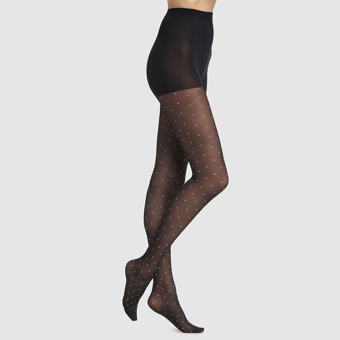 Dim Style 36D black plumetis fancy tights with white polka dots, , DIM