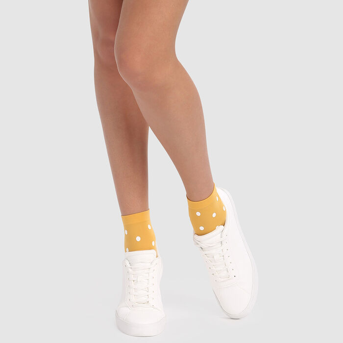 Fancy socks in golden yellow with retro polka dot print 40D Dim Style, , DIM