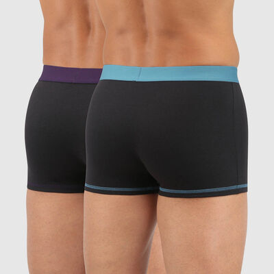 Mix and Colours pack of 2 black cotton trunks with colourful waistband in green and purple, , DIM