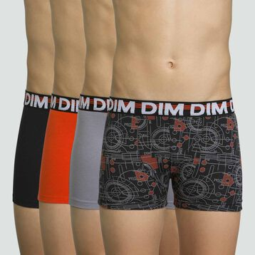 4 pack stretch cotton boxers for boys in Black Promo Eco, , DIM