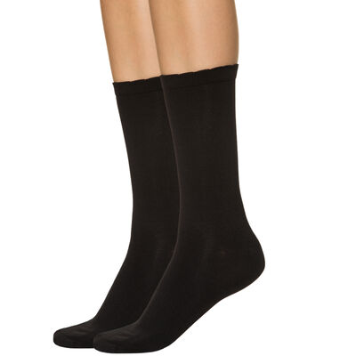 Pack of 2 pairs of women's second skin mid calf socks in black, , DIM